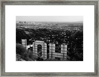 Behind Hollywood Bw Framed Print by James Kirkikis