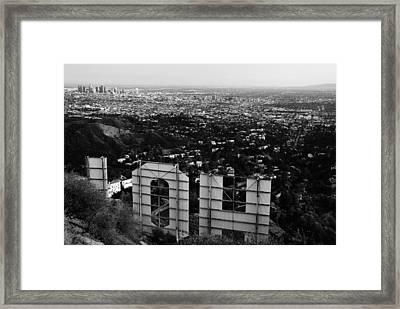 Behind Hollywood Bw Framed Print