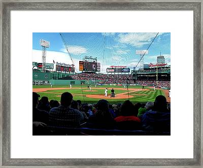 Behind Home Plate At Fenway Framed Print