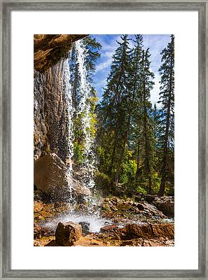 Behind Spouting Rock Waterfall - Hanging Lake - Glenwood Canyon Colorado Framed Print by Brian Harig