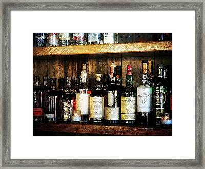 Behind The Bar Framed Print by Cathie Tyler