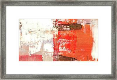 Behind The Corner - Warm Linear Abstract Painting Framed Print