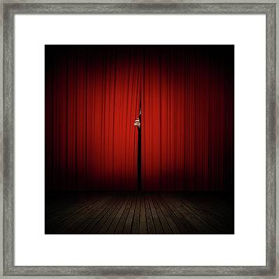 Behind The Curtain Framed Print