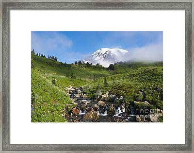 Behind The Fog Framed Print by Mike Dawson