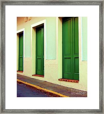 Behind The Green Doors Framed Print by Debbi Granruth