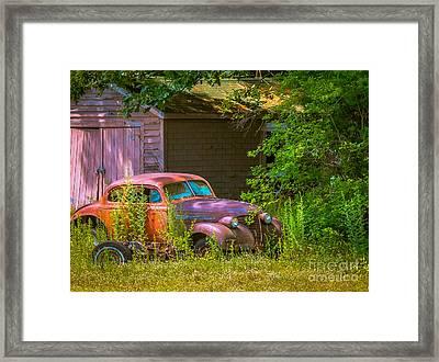 Behind The Old Barn Framed Print