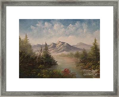 Behind The Pines  Framed Print by Paintings by Justin Wozniak