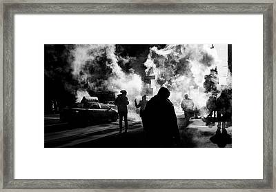 Behind The Smoke Framed Print