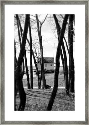 Framed Print featuring the photograph Behind The Trees by Valentino Visentini