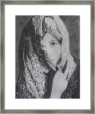 Framed Print featuring the drawing Behind The Veil by Quwatha Valentine