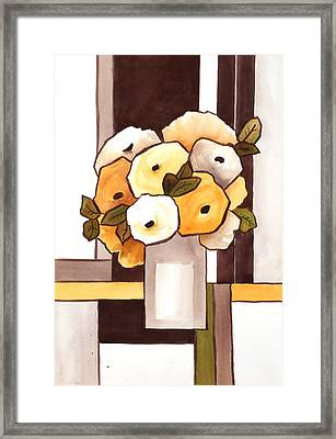 Beige And Brown Funny Flowers Framed Print by Carrie Allbritton