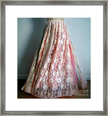 Beige Lace Maxi Skirt Framed Print by Sofia Metal Queen