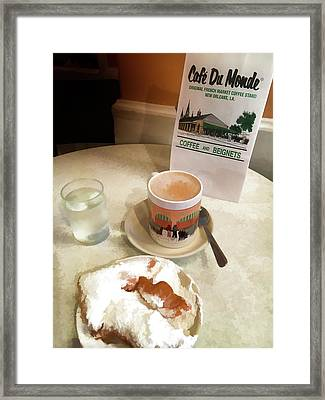 Beignet And Coffee At Cafe Du Monde Framed Print by Art Spectrum