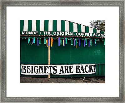 Beignets Nola Framed Print by Ally Burguieres