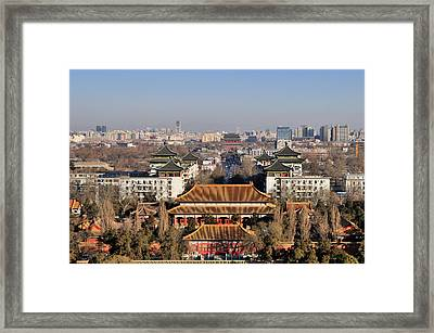 Beijing Central Axis Skyline, China Framed Print