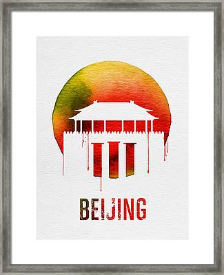 Beijing Landmark Red Framed Print by Naxart Studio