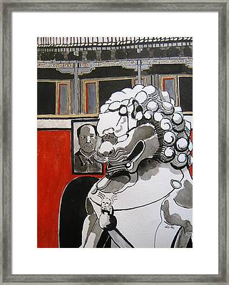 Beijing Tiananmen Lion Framed Print by Lesley Giles