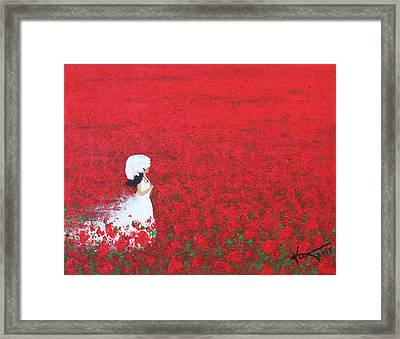 Being A Woman - #2 In A Field Of Poppies Framed Print by Kume Bryant