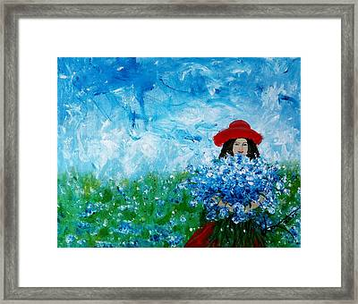 Being A Woman - #3 In A Field Of Bluebonnets Framed Print by Kume Bryant