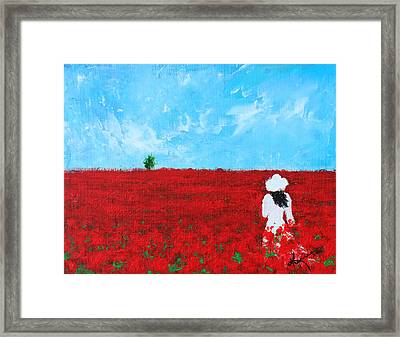 Being A Woman - #4 In A Field Of Poppies Framed Print by Kume Bryant