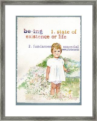 Being Framed Print by Janice Crow