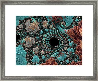 Framed Print featuring the digital art Bejeweled Fractal by Bonnie Bruno