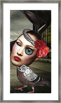 Mixed Media Collage Bejeweled Pigeon Lady Framed Print by Lisa Noneman