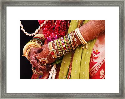 Bejewelled Bride With Henna Hands At Mumbai Wedding Framed Print by Gerard Walker
