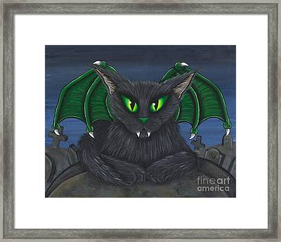 Framed Print featuring the painting Bela Vampire Cat by Carrie Hawks