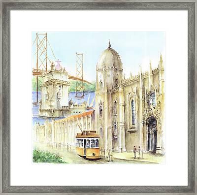 Belem Jeronimos And Belem Tower Lisbon Framed Print