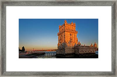 Belem Tower And The Moon Framed Print