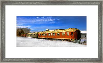 Framed Print featuring the photograph Belfast And Moosehead Railroad Cars In Winter by Olivier Le Queinec