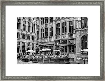 Belgian Lunch In The Square Framed Print
