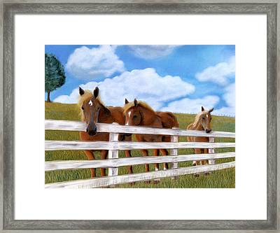 Framed Print featuring the pastel Belgians At Pasture by Jan Amiss