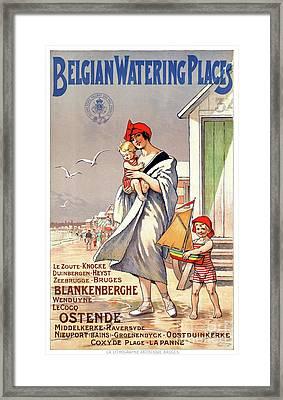 Belgium Ostende Vintage Travel Poster Restored Framed Print by Carsten Reisinger