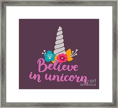 Believe In Unicorn Framed Print by Edward Fielding