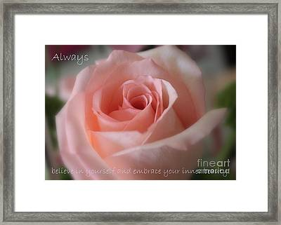 Believe In Yourself Card Or Poster Framed Print by Carol Groenen