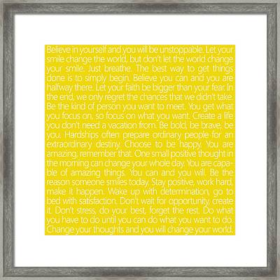 Believe In Yourself Yellow Framed Print by Sabine Jacobs