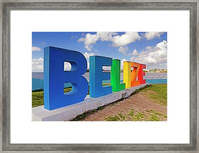 Framed Print featuring the photograph Belize Sign Dedicated To Lena Quinto - Fort George, Belize - Caribbean by Jason Politte