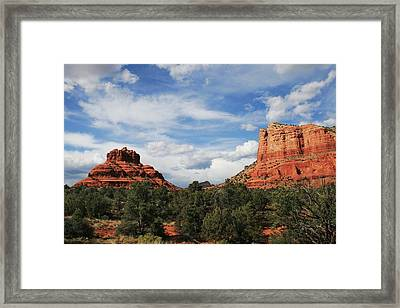 Bell And Courthouse Rock Framed Print by Ellen Henneke