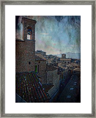 Bell Tower And Rooftops Citta Della Pieve Framed Print