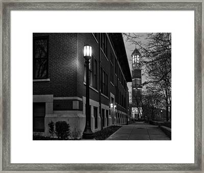 Bell Tower At Night Framed Print by Coby Cooper