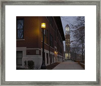 Bell Tower At Night Color Framed Print by Coby Cooper