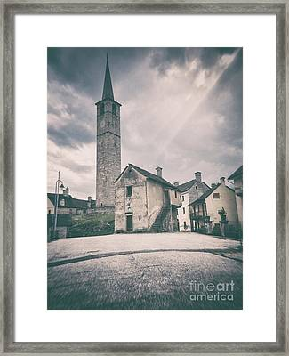 Framed Print featuring the photograph Bell Tower In Italian Village by Silvia Ganora