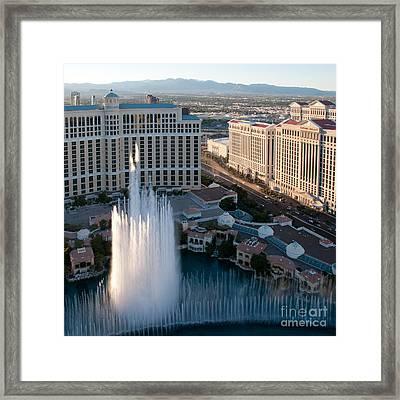 Bellagio Fountains At Dusk Framed Print