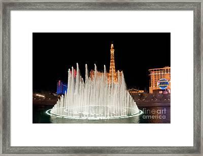 Bellagio Fountains Night 2 Framed Print