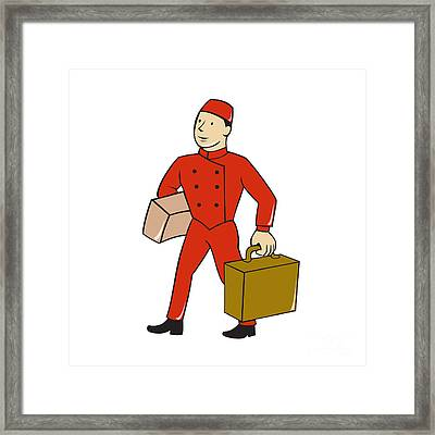 Bellboy Bellhop Carry Luggage Cartoon Framed Print