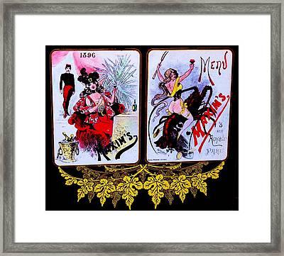 belle epoque-vintage Maxim's menu Framed Print by Adolfo hector Penas alvarado