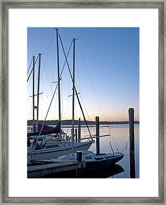 Belle Haven Marina In Alexandria Virginia At Sunrise Framed Print by Brendan Reals