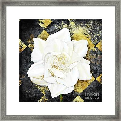 Belle, White Gardenia Blooms Amidst French Art Deco Grunge Framed Print